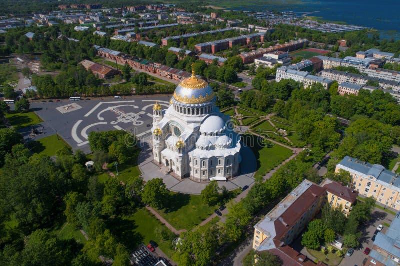 圣尼古拉斯海军大教堂航拍 喀琅施塔得,俄罗斯 库存图片