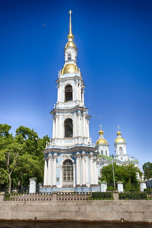 圣尼古拉斯海军大教堂钟楼在圣彼德堡俄罗斯 库存照片
