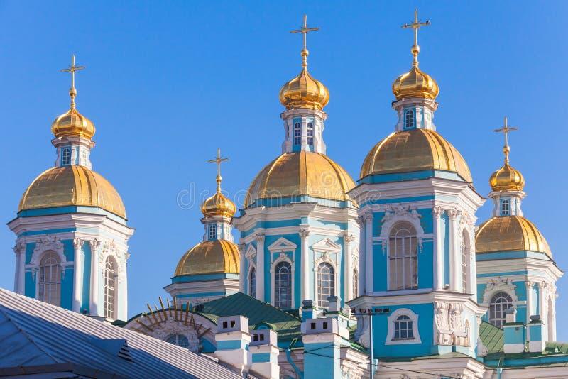 圣尼古拉斯海军大教堂,圣彼德堡,俄罗斯 图库摄影