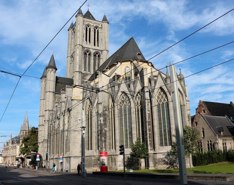 圣尼古拉斯的教会,跟特,比利时 图库摄影