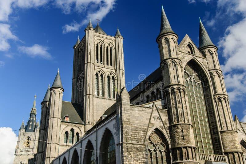 圣尼古拉斯的教会,跟特,比利时 免版税库存照片