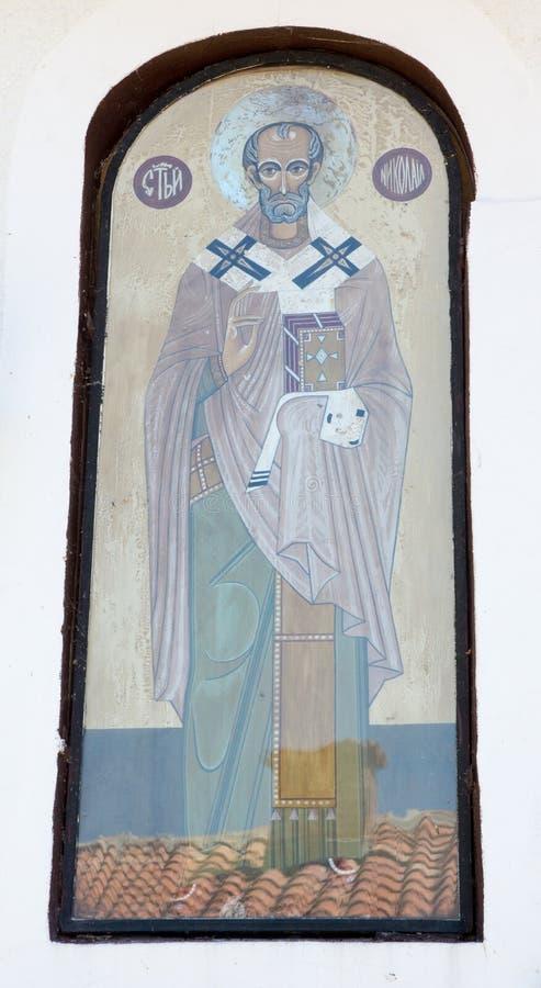 圣尼古拉斯象在寺庙的墙壁上的在圣尼古拉斯修道院里  免版税库存图片