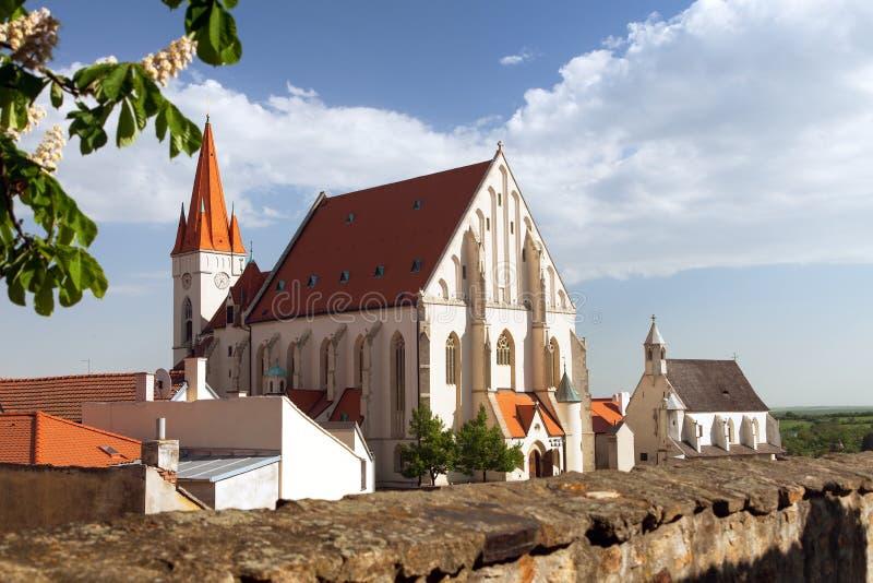 圣尼古拉斯,兹诺伊莫,捷克哥特式教会  库存照片