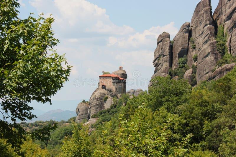 圣尼古拉斯Anapausas修道院迈泰奥拉岩层的Kalambaka希腊 图库摄影