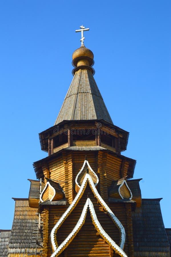 圣尼古拉斯Izmailovo克里姆林宫教会最高的木教会在莫斯科 免版税库存照片