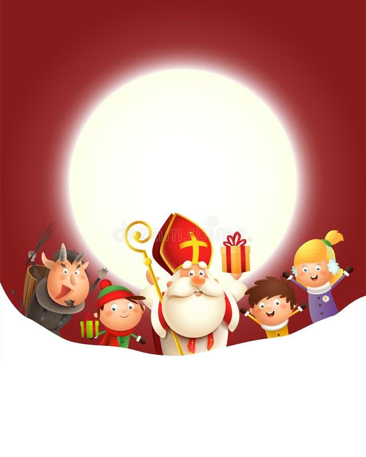 圣尼古拉斯Krampus和孩子庆祝在月亮-与拷贝空间的红色背景前面的假日 库存图片