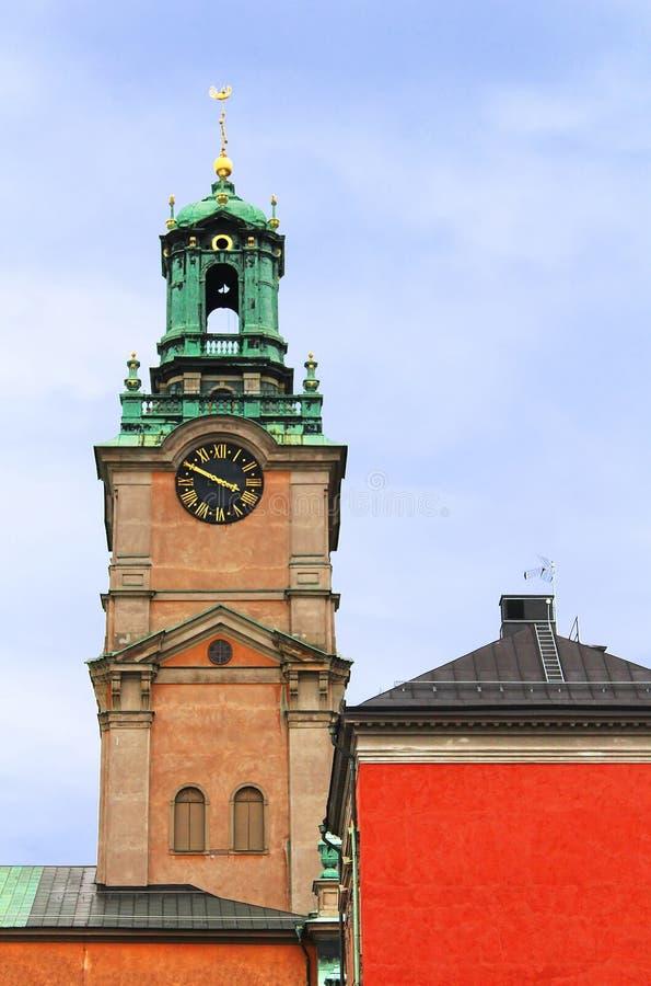 圣尼古拉钟楼,斯德哥尔摩,瑞典 免版税库存图片