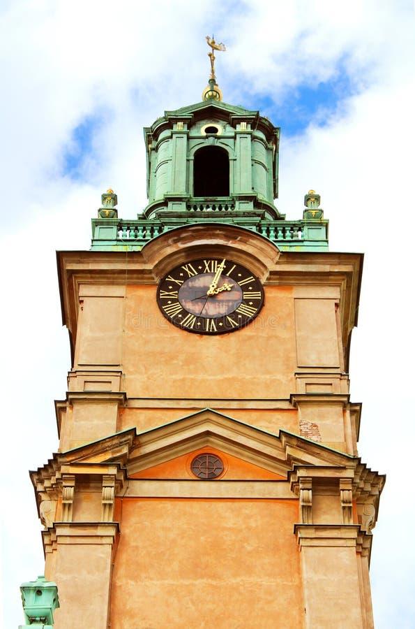 圣尼古拉(Storkyrkan)钟楼,斯德哥尔摩 图库摄影
