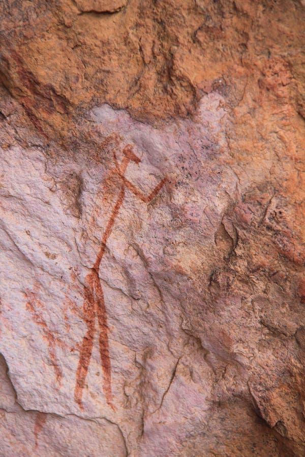 圣岩石艺术丛林居民绘画 库存照片
