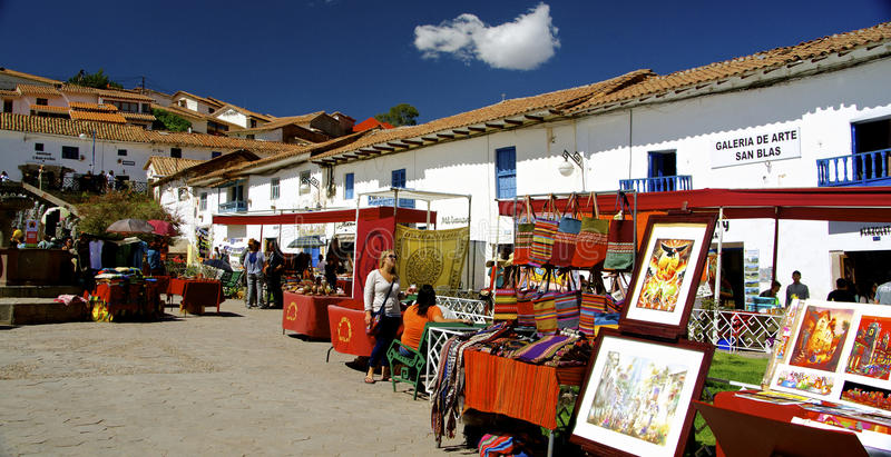 圣布拉斯,库斯科,秘鲁 库存照片