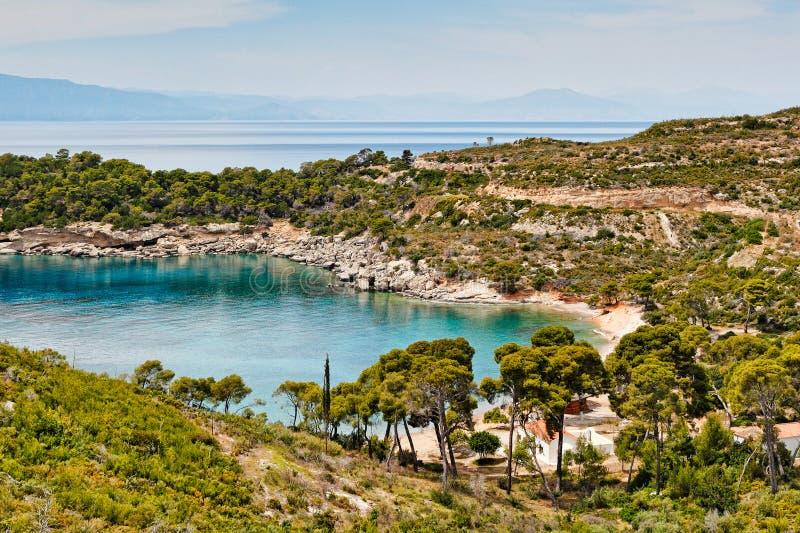 圣帕拉斯凯维在斯佩察岛,希腊 免版税库存照片