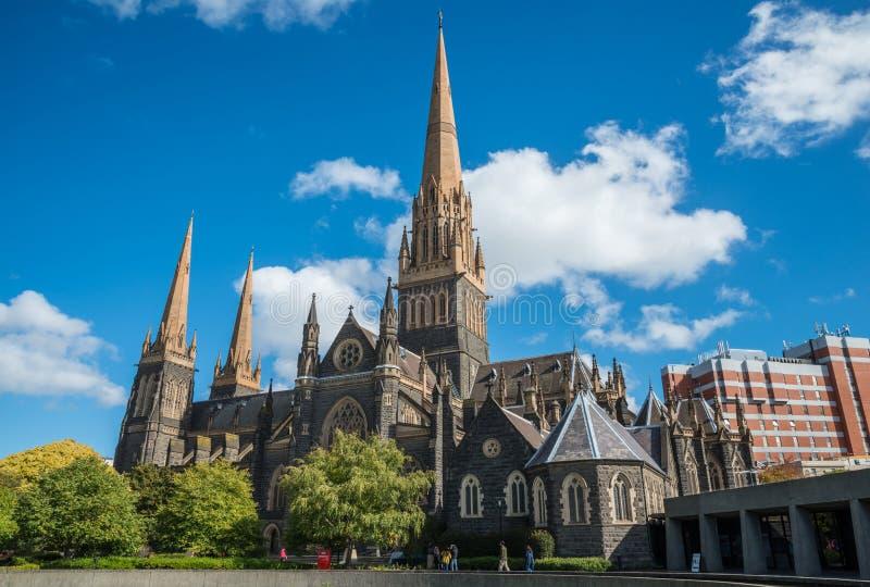 圣帕特里克大教堂最大的教会在墨尔本,澳大利亚 免版税库存图片