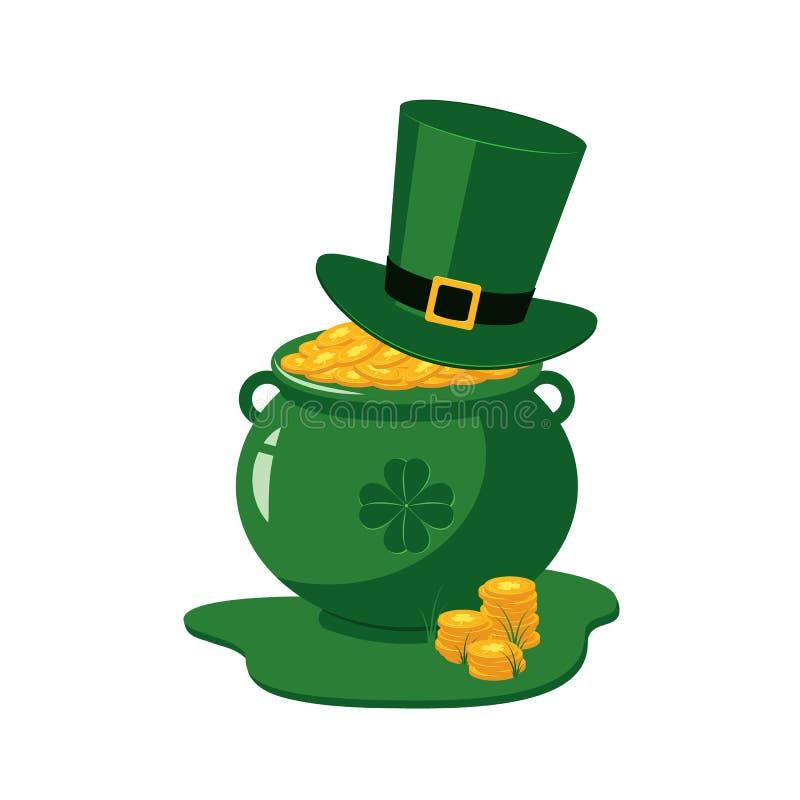圣帕特里克天传统标志-充分绿色妖精帽子和罐金黄硬币 库存例证
