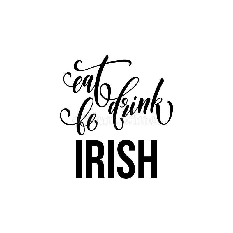 圣帕特里克天文本为爱尔兰传统宴餐假日 传染媒介吃,饮料并且是愉快的圣徒的Patr爱尔兰书法字法 库存例证
