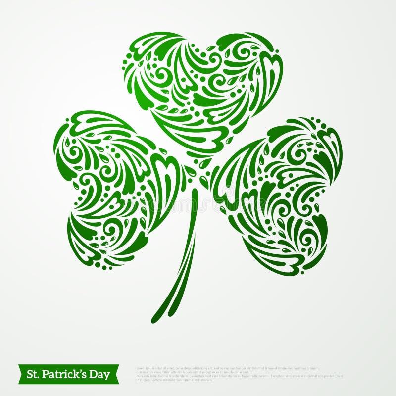 圣帕特里克天的绿色三叶草标志 皇族释放例证