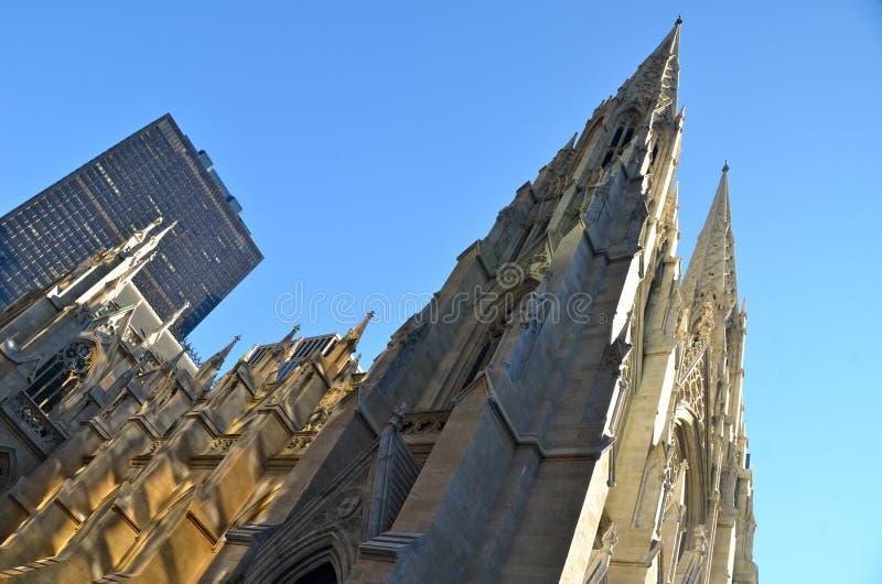 圣帕特里克的大教堂, NYC外部  库存照片
