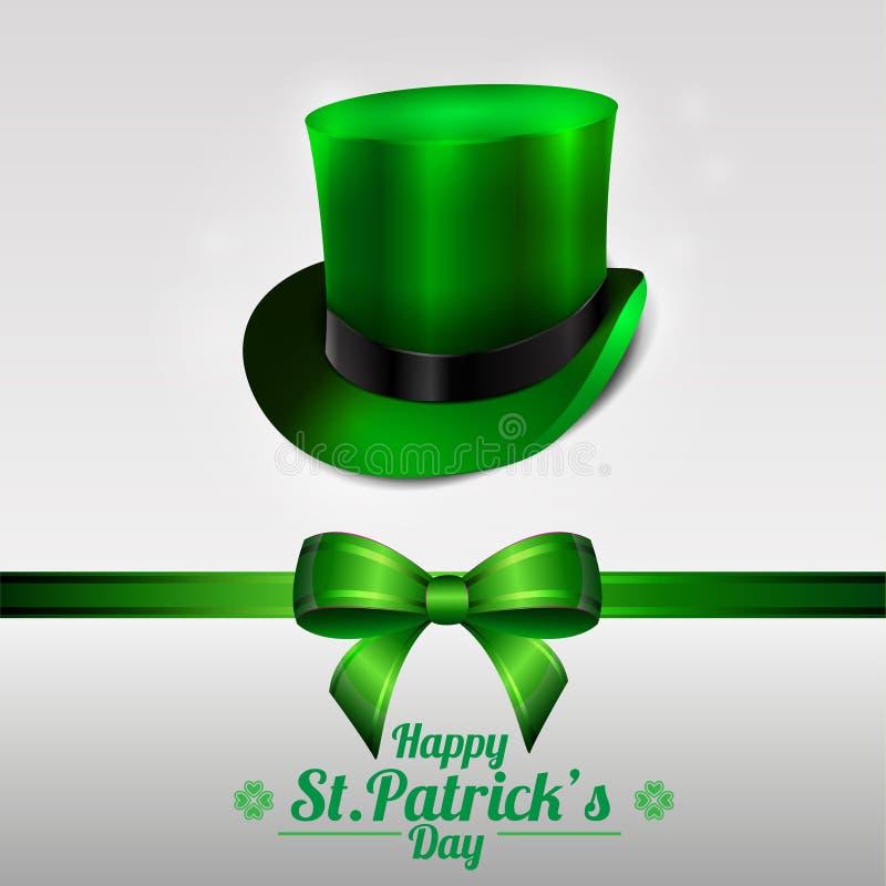 圣帕特里克的天与妖精帽子的贺卡在绿色背景 弓和丝带 库存图片