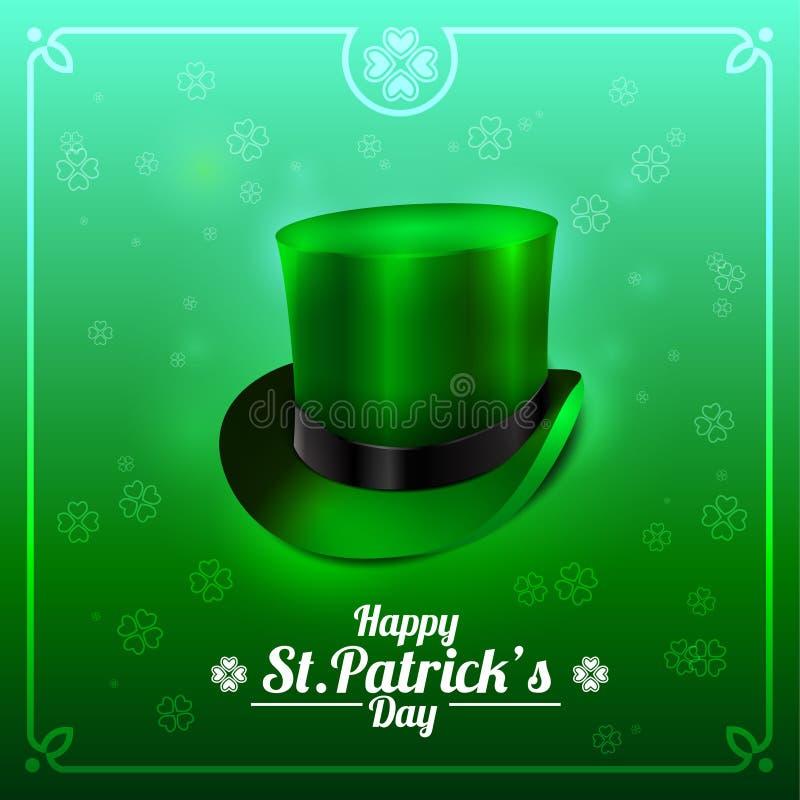 圣帕特里克的天与妖精帽子的贺卡在绿色背景 免版税库存图片