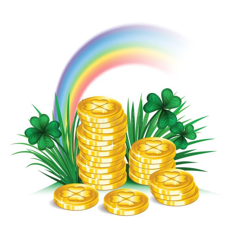 圣帕特里克的天标志、彩虹和金币 皇族释放例证