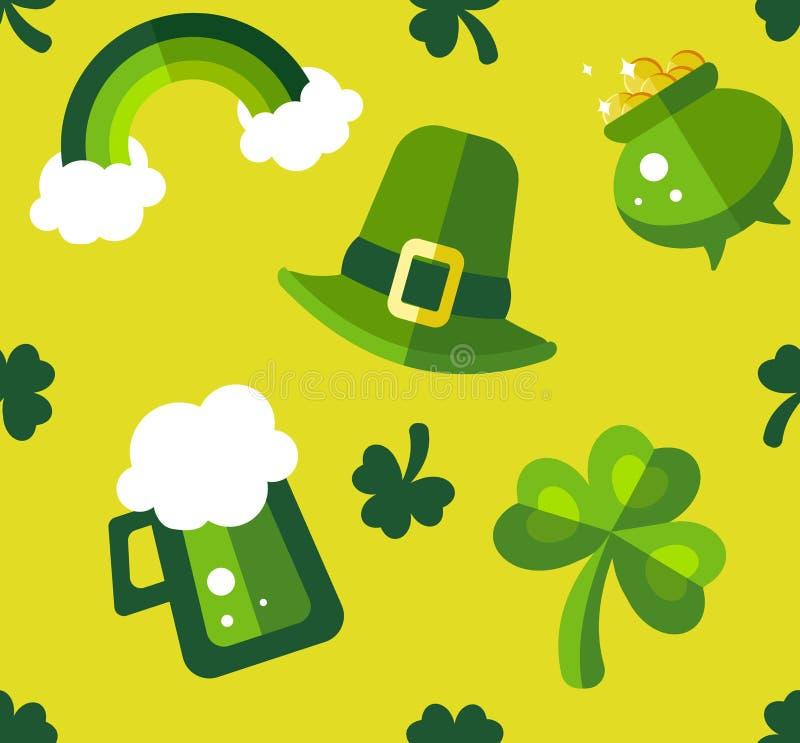 圣帕特里克的天绿色和黄色无缝的样式 免版税库存照片
