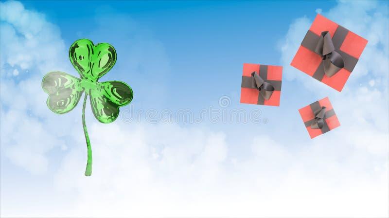 圣帕特里克的天3d三叶草和砰在空间背景的礼物盒 装饰问候明信片 站点的简单的横幅, s 库存照片