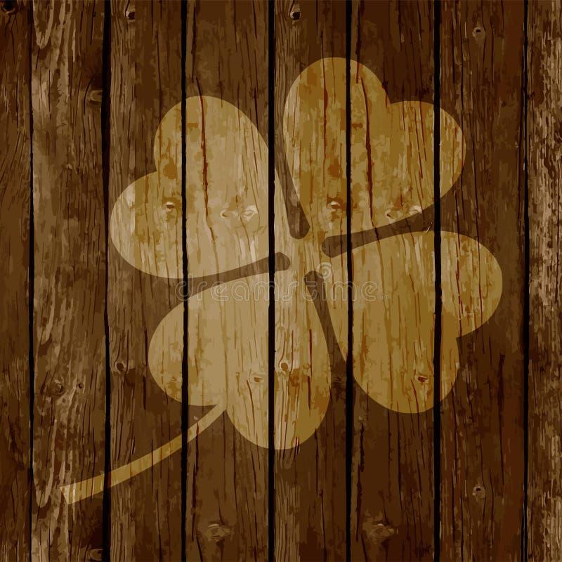 圣帕特里克` s天背景或卡片在木背景 库存例证
