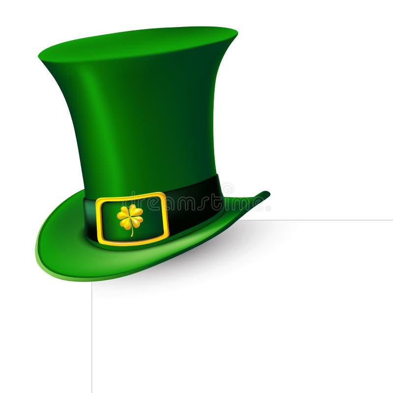 圣帕特里克` s天绿色有三叶草的妖精帽子 也corel凹道例证向量 向量例证