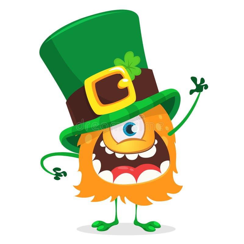 圣帕特里克` s日 戴有四片叶子三叶草的动画片一被注视的妖怪爱尔兰帽子隔绝在白色背景 皇族释放例证