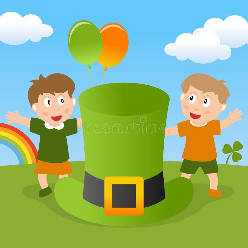 圣帕特里克s孩子&绿色帽子 库存照片