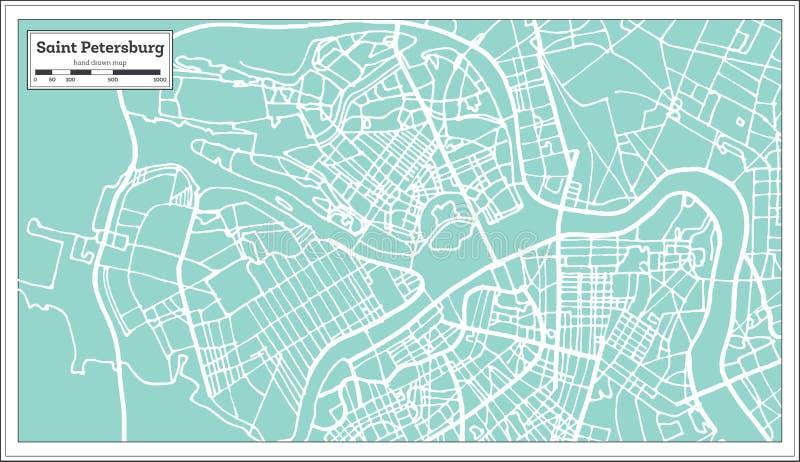 圣彼得堡俄罗斯在减速火箭的样式的市地图 黑白向量例证 向量例证