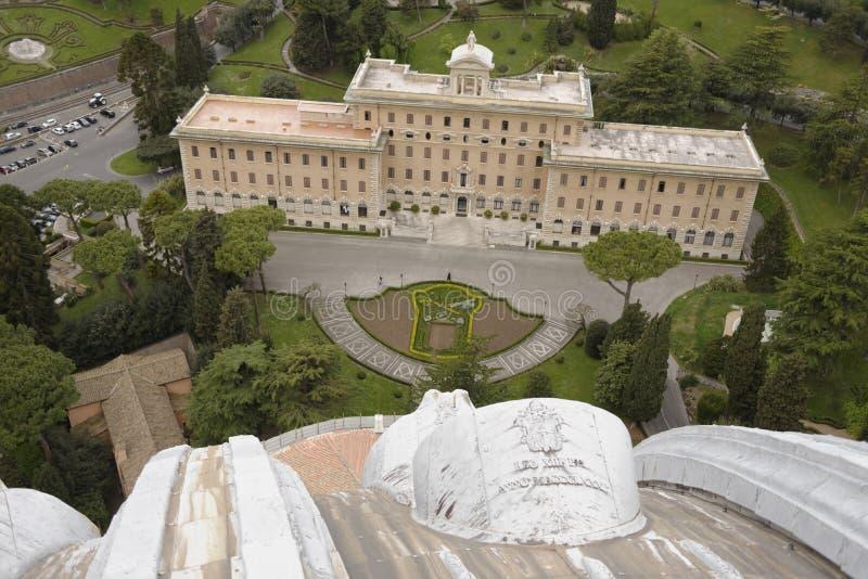 从圣彼得大教堂,罗马,意大利的鸟瞰图 免版税库存照片