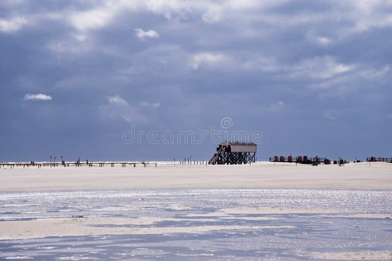 圣彼得Ording海滩  免版税库存照片