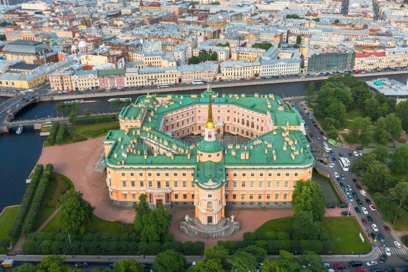 圣彼德堡博物馆,Mikhailovsky城堡,大理石宫殿,鸟瞰图 免版税库存照片