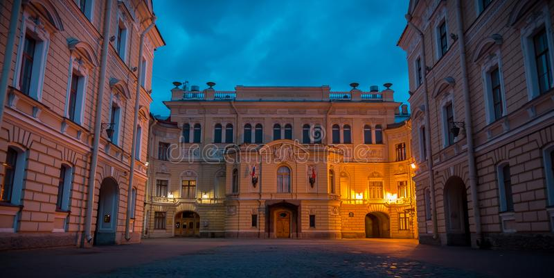 圣彼德堡夜视图 库存照片