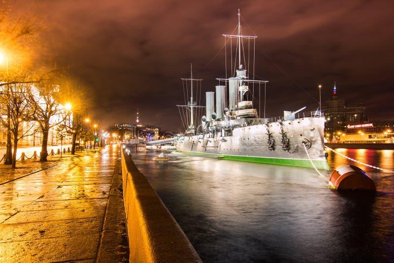 圣彼德堡,俄罗斯,2016年10月26日:巡洋舰阿芙乐尔号 库存图片