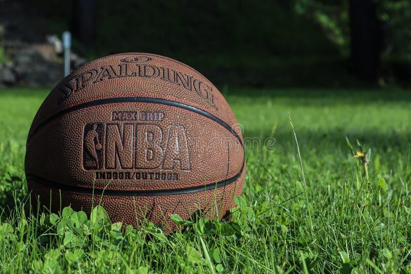 圣彼德堡,俄罗斯- 2019年6月05日:在绿草的篮球球 美国职篮淘汰赛决赛的概念 spalding的篮球backgro 库存照片