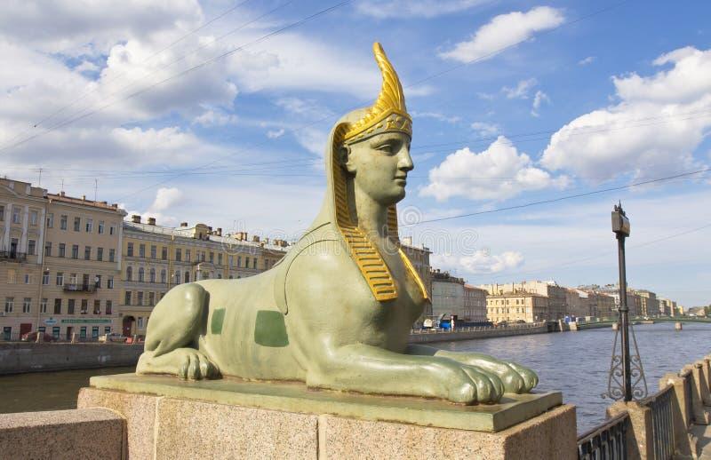 圣彼德堡,狮身人面象雕塑  库存图片
