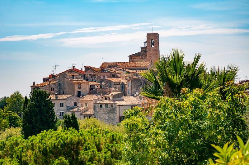圣徒保罗de旺克镇全景在普罗旺斯,法国 免版税库存照片