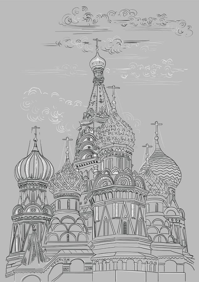 圣徒克里姆林宫莫斯科,俄罗斯蓬蒿大教堂传染媒介手在黑白颜色的图画例证在灰色 皇族释放例证