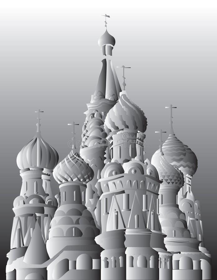 圣徒克里姆林宫莫斯科,俄罗斯蓬蒿大教堂隔绝了传染媒介手在黑白梯度颜色的图画例证 皇族释放例证