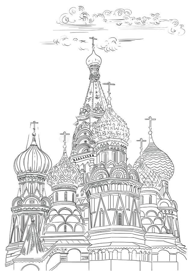 圣徒克里姆林宫莫斯科,俄罗斯蓬蒿大教堂隔绝了传染媒介手在黑色的图画例证在白色背景 向量例证