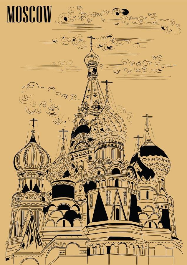 圣徒克里姆林宫莫斯科,俄罗斯蓬蒿大教堂隔绝了传染媒介手在黑色的图画例证在米黄背景 库存例证