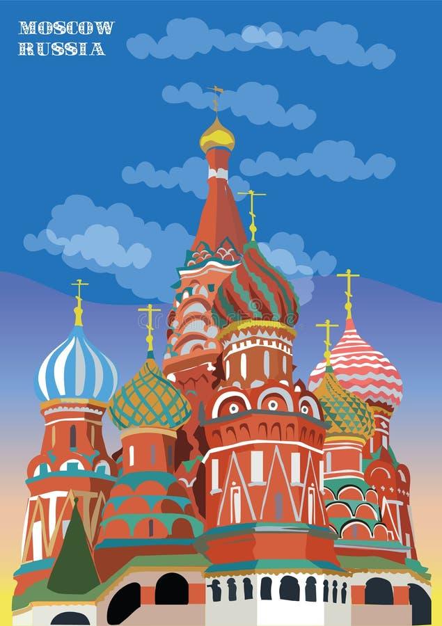 圣徒克里姆林宫莫斯科,俄罗斯蓬蒿大教堂隔绝了在不同颜色的传染媒介例证在蓝色背景 库存例证
