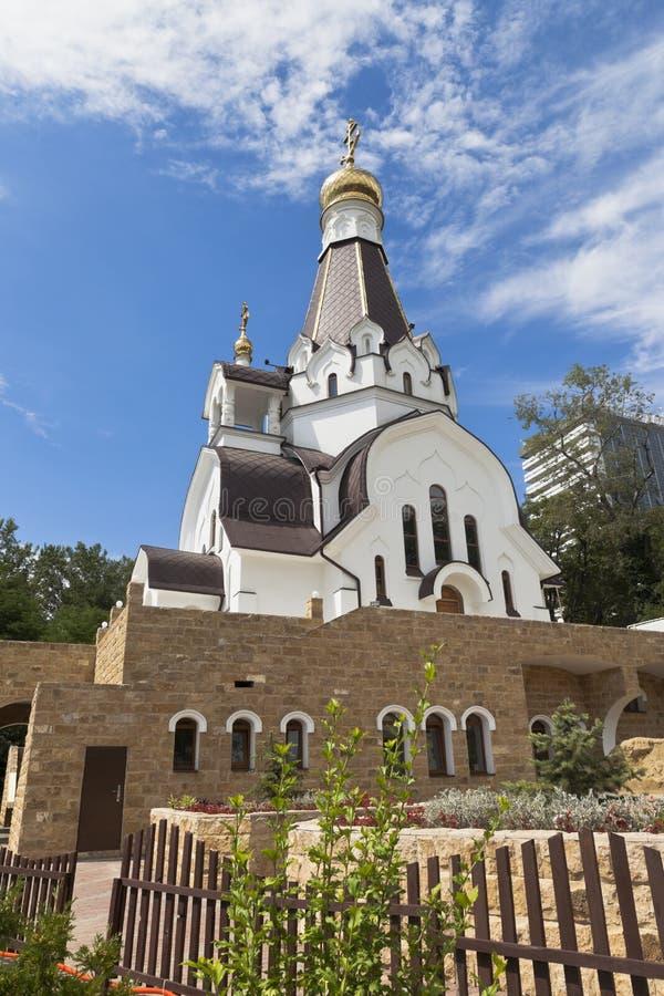 圣徒公正的战士Feodor Ushakov大教堂在解决Kudepsta,索契 库存图片