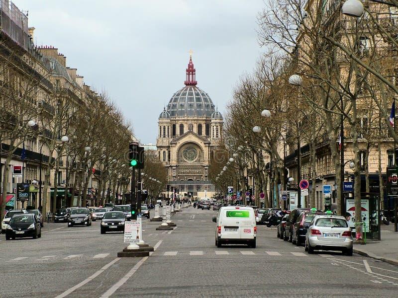 圣徒奥古斯丁教会的看法在巴黎 免版税库存图片