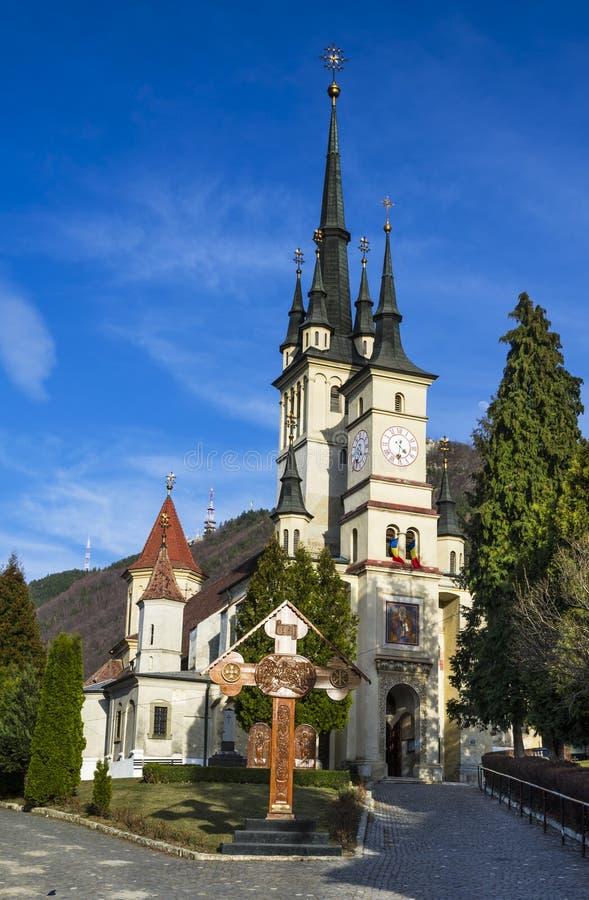 圣尼古拉斯教会在Schei, Brasov,罗马尼亚 免版税库存图片