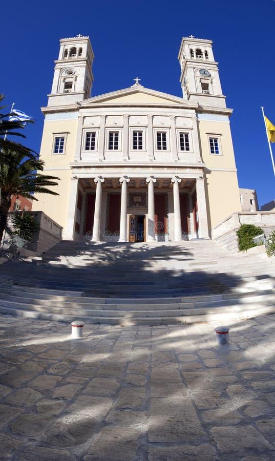 圣徒尼古拉斯教会, Syros,希腊 库存图片