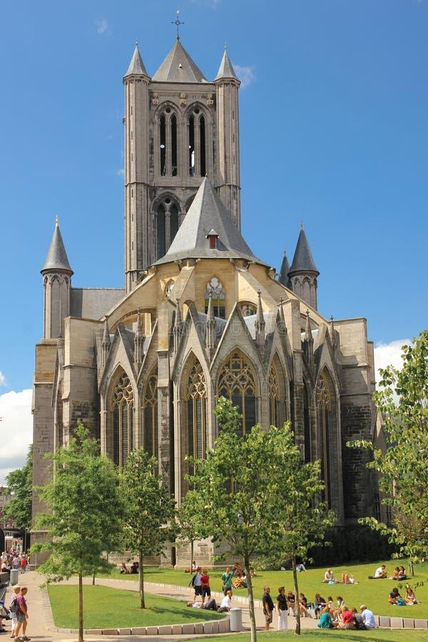 圣徒尼古拉斯的教会 跟特 比利时 免版税图库摄影