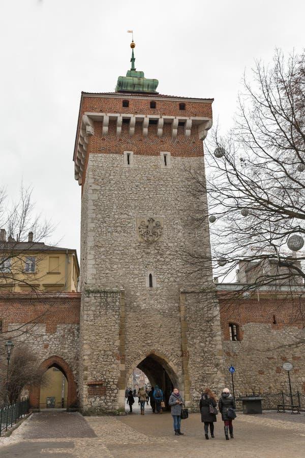 圣徒弗洛里安门在克拉科夫,波兰 库存照片