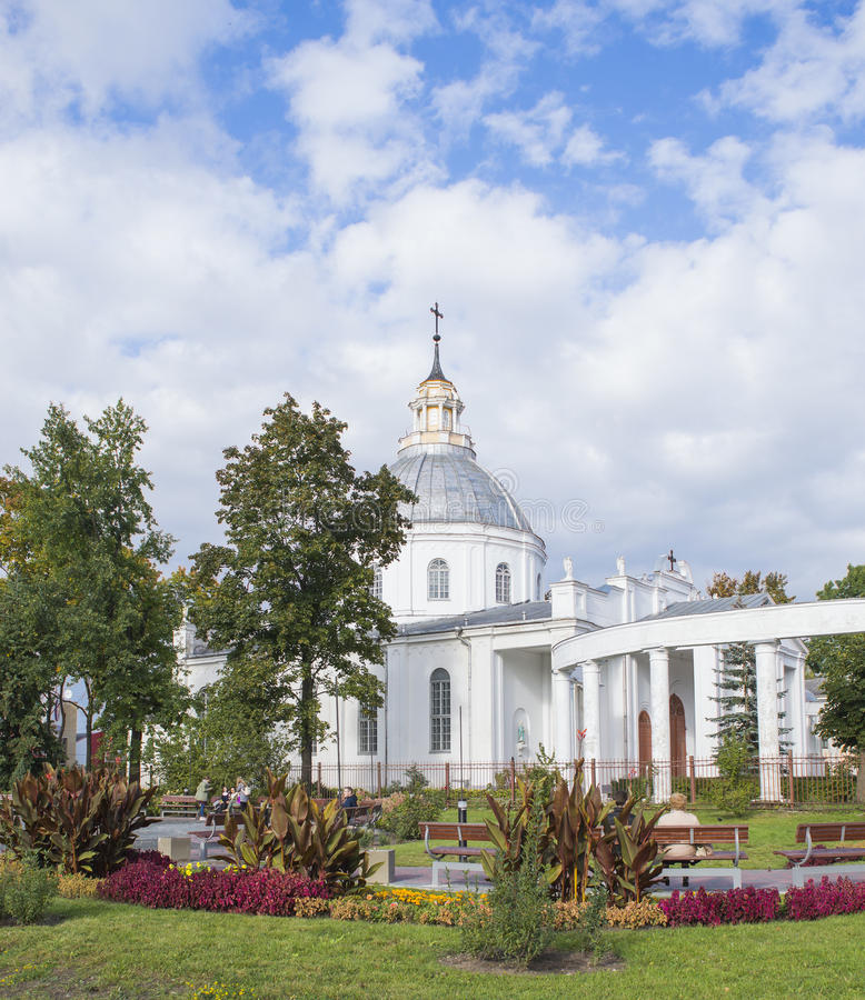 圣徒彼得和保罗大教堂在陶格夫匹尔斯,拉脱维亚 库存照片